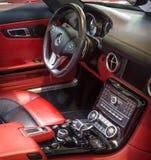 supercar奔驰车SLS AMG (R197)客舱, 2012年 免版税库存照片