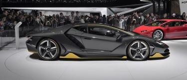 Supercar de Lamborghini Centenario en el autoshow 2016 de Geneve Foto de archivo libre de regalías