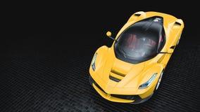 Supercar giallo - vista superiore dello studio Immagine Stock Libera da Diritti