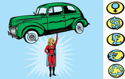 Supercar girl. Superhero picking up a car.  With vector,  car and hero are separate.  Shadow on hand can be removed.  Hand is fully drawn, so hero can be picking Stock Photo