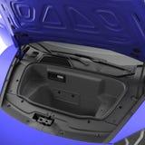 Supercar moderno blu con il cappuccio aperto del bagaglio isolato su bianco illustrazione 3D Fotografia Stock Libera da Diritti