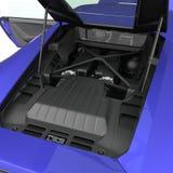 Supercar moderno blu con il cappuccio aperto Motore di V8 isolato su bianco illustrazione 3D Immagini Stock Libere da Diritti