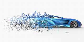 Supercar Pixelated Disintegration Stock Images