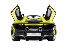 Supercar Rear Shot. Rear shot of a McLaren 675 LT, Isolated with clipping path included stock image
