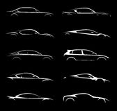 Supercar and regular car vehicle silhouette collection set. Royalty Free Stock Photo