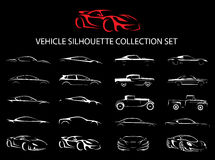 Supercar and regular car vehicle silhouette collection set. Stock Images