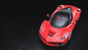 Supercar rosso - vista superiore dello studio Fotografia Stock