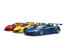Supercars in blue, yellow and red Stock Photo