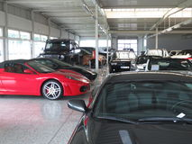 Supercars. Garage of dream, rich man toys Royalty Free Stock Image