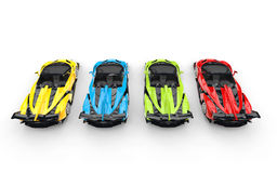 Supercars - primary colors. Supercars - top view - primary colors royalty free stock photo