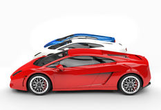 Supercars - Row - Red Car in the Front Royalty Free Stock Image