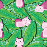 Supercat And Drawing Leaves Seamless Pattern_eps Stock Image