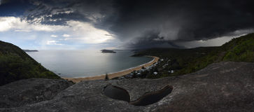 Supercell storm over Broken Bay Pearl Beach NSW Australia. Sydney summer supercell thunderstorm vision over Sydney, Broken Bay, and part of Central Coast.  A Stock Images