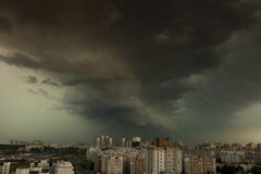 Supercell storm over the city Stock Images