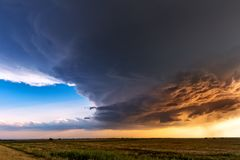 Supercell thunderstorm. Cloud at sunset royalty free stock photo