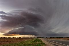 Supercell thunderstorm. With dark clouds royalty free stock image