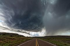 Supercell thunderstorm. With dark clouds and hail stock images