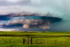Supercell thunderstorm with dramatic clouds royalty free stock photography
