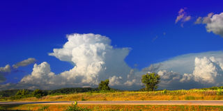 Supercell Thunderstorm Landscape Wisconsin. Supercell thunderstorm erupting over the farmlands of Rock County Wisconsin in the summer of 2015 Royalty Free Stock Photos
