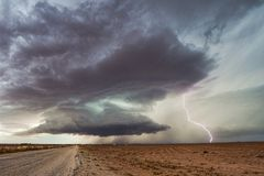 Supercell thunderstorm with lightning Stock Photo