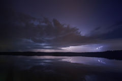 Supercell thunderstorm. Over the lake with lightnings at night Stock Image