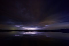 Supercell thunderstorm 4. Supercell thunderstorm over the lake with lightnings at night Royalty Free Stock Photos