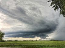 Supercell thunderstorm, severe weather over farm land in Illinois royalty free stock photo