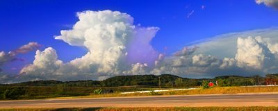 Supercell Thunderstorm Wisconsin. Supercell thunderstorm erupting over the farmlands of Rock County Wisconsin in the summer of 2015 royalty free stock image