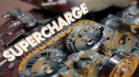 Supercharge Engine Word Turbo Horsepower. 3d Illustration Royalty Free Stock Photography