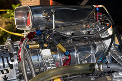 supercharged motor Arkivfoto