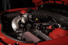 Supercharged vehicle motor Stock Photography