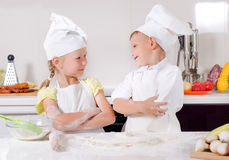 Supercilious little boy chef Stock Image