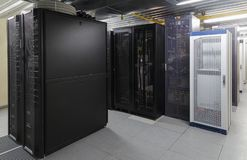 Supercomputer center server room with super powerful modern processors. Network interior with computers for digital tv ip communications and internet stock photos