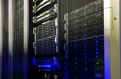 Supercomputer disk storage in data center Royalty Free Stock Photos