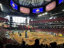 Supercross de la energía del monstruo del estadio de Mercedes-Benz fotos de archivo libres de regalías