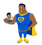 Superdad and a child cartoon. Illustration of African American superhero dad holding a child, isolated on a white background Royalty Free Stock Images