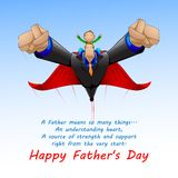Superdad flying with Son Stock Photography