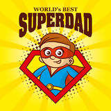Superdad logo Cartoon character superhero. Vector illustration T-shirt Royalty Free Stock Photography