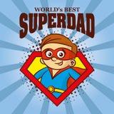 Superdad logo Cartoon character superhero Stock Images