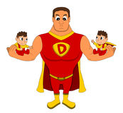Superdad and twin babies cartoon Stock Images