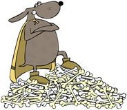 Superdog que está em uma pilha dos ossos Foto de Stock Royalty Free