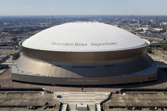 Superdome - New Orleans, Louisiana. Aerial view of Mercedes-Benz Superdome also known as Louisiana Superdome located in the Business District in downtown New Stock Images