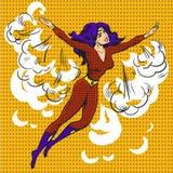 Superdonna disegnata a mano di Pop art del personaggio dei cartoni animati di vettore Immagine Stock Libera da Diritti