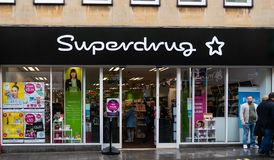 Superdrug store Front Bath. Bath, United Kingdom - October 13 2018: The front of Superdrug chemists and cosmetics store in Westgate St stock image