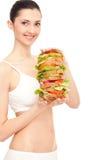 superenorm smörgås för hamburgare Arkivfoto