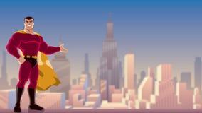 Supereroe che presenta nella città video d archivio
