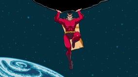 Supereroe che tiene Boulder nello spazio archivi video