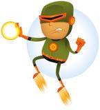 Supereroe comico volante Fotografia Stock