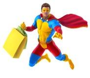 Supereroe con le borse Fotografia Stock Libera da Diritti