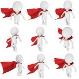 Supereroe coraggioso dell'uomo con la mosca rossa del mantello illustrazione vettoriale